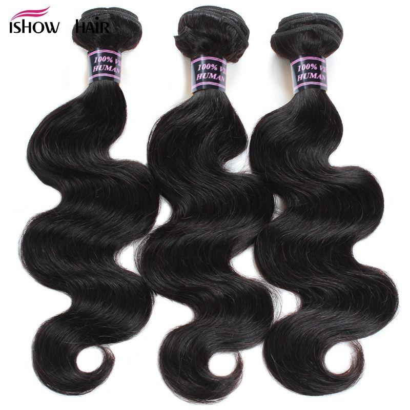 3 Bundles Brazilian Body <font><b>Wave</b></font> Bundles Deal Ishow Human Hair Brazilian Hair Weave Bundles Natural Color Non Remy Hair Extension