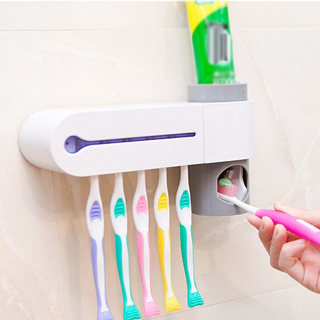 Newly Automatic Toothpaste Dispenser Squeeze Toothbrush Sterilizer Toothbrush Holder Cleaner Antibacteria Uv Light Bathroom Set