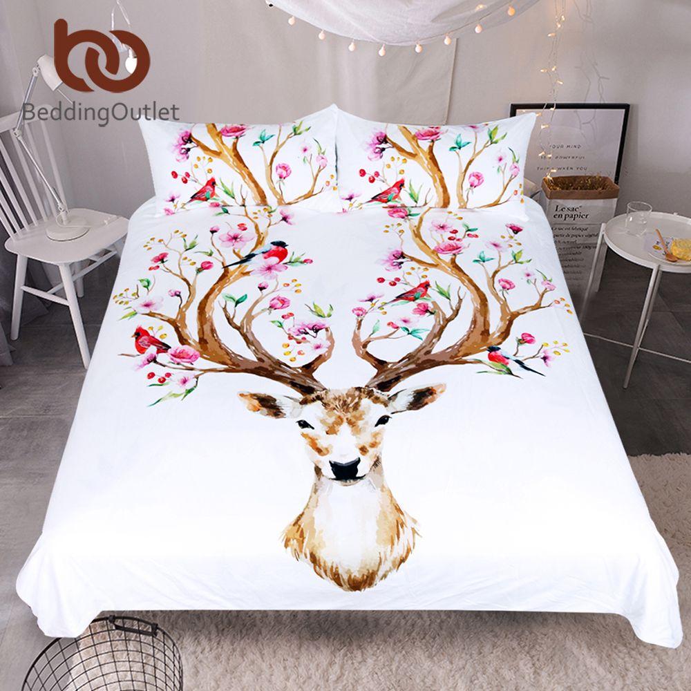 BeddingOutlet Elk Bedding Set Queen Floral Moose Duvet Cover Animal Reindeer Bedspreads for Kids Deer Bedspread Bed Set 3pcs