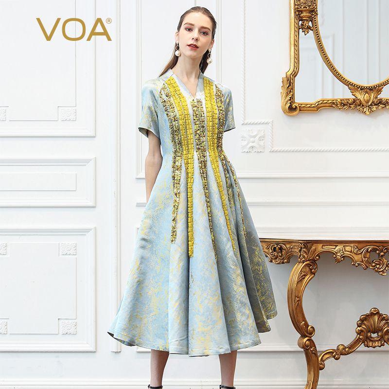 VOA Seide Jacquard Gefaltete Partei Kleid Frauen Plus Größe 5XL Lange Kleider V Ansatz Dünne Kurzarm Vintage Rüschen Luxus herbst A335
