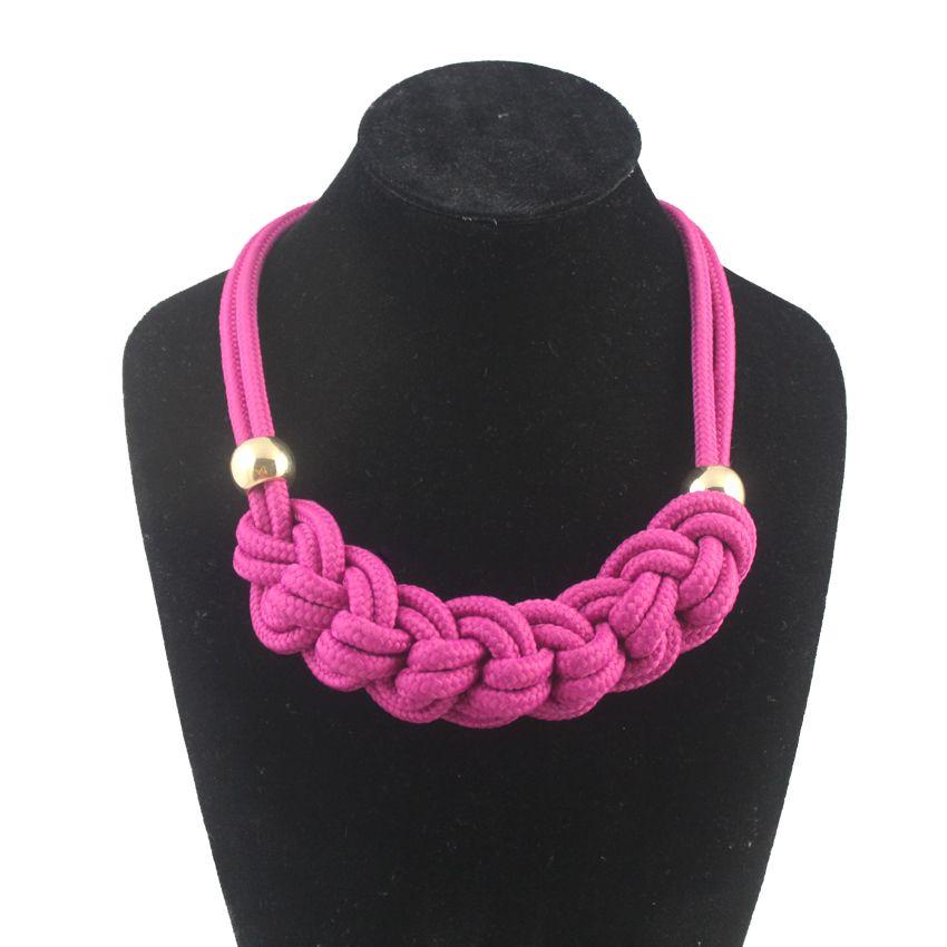 Мода Неон Веревка сладкий цепи ярких цветов ручной поворот ожерелья