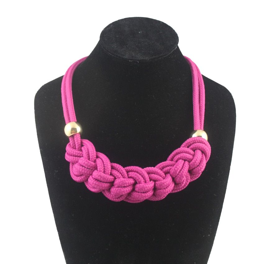 Cadena de la cuerda de neón moda dulce caramelo de color manual de la torcedura collares