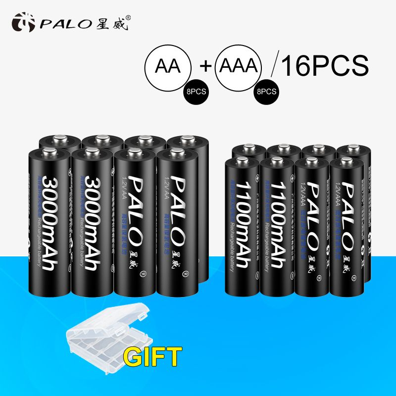 8Pcs PALO <font><b>1.2V</b></font> 3000mAh AA Rechargeable Battery and 8Pcs 1100mAh AAA Rechargeable Batteries For Toys Car