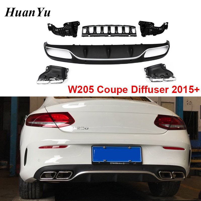 1set W205 Coupe Cabriolet Hinten Stoßstange Diffusor für Mercedes C Klasse 2-tür Sport mit Silber/Schwarz auspuff Tipps Boot Lippen 2015 +