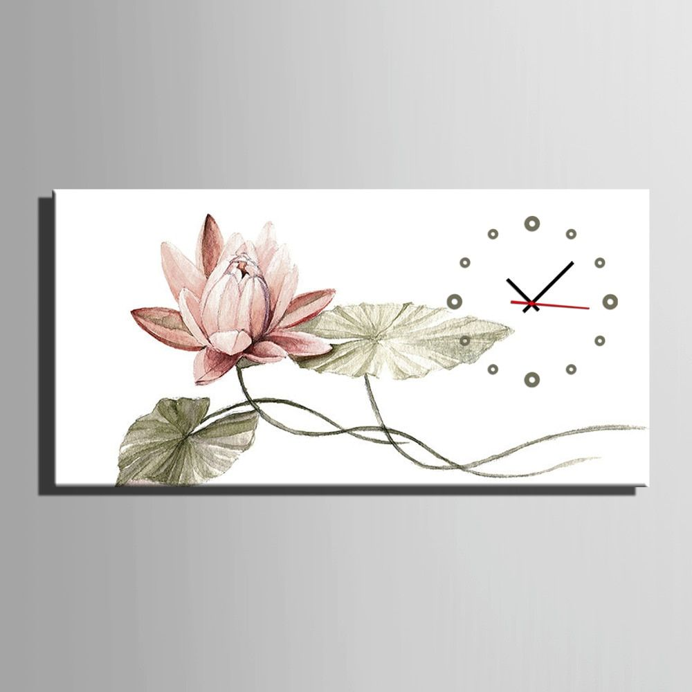 Free Shipping E-HOME Pink Lotus Clock in Canvas 1pcs wall clock