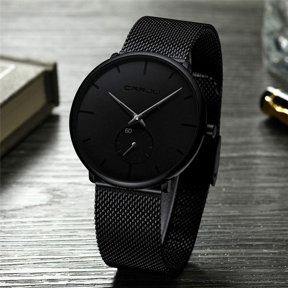 Ultra mince créatif noir en acier inoxydable Quartz montres hommes Simple mode affaires japon montre-bracelet horloge mâle Relogios