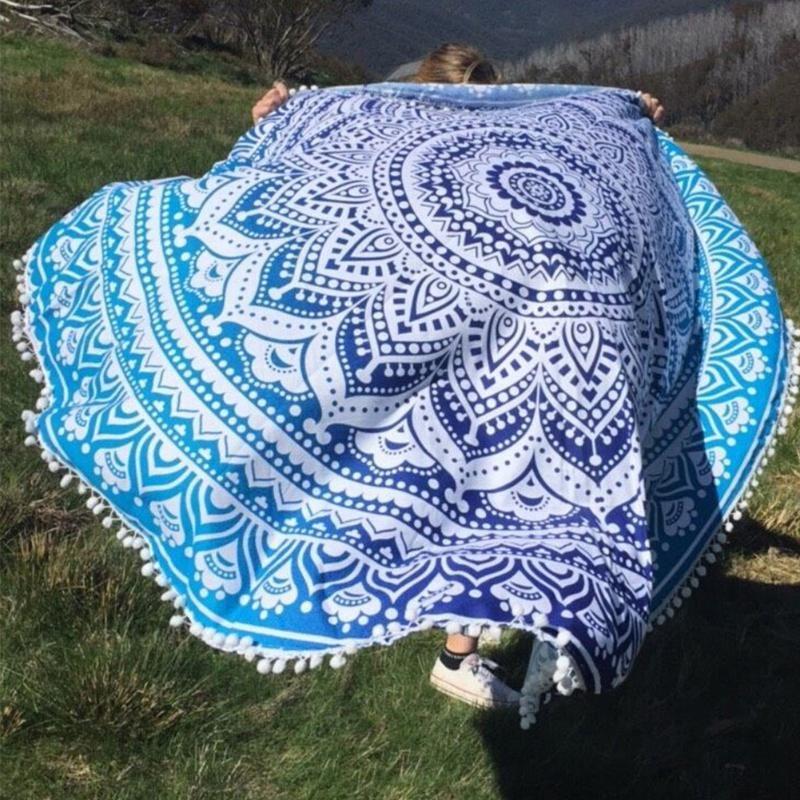 Summer Bohemian Tapestry Round Beach Towel Ball Tassel Floral Printed Swimming Towl Sunbathing Dress Blanket Yoga Mat Home Decor