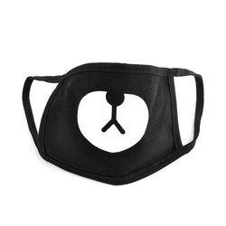 Cotton Dustproof Mouth Face Mask Unisex Korean Style Kpop Black Bear Cycling Anti-Dust Cotton Facial Protective Cover Masks 1PC