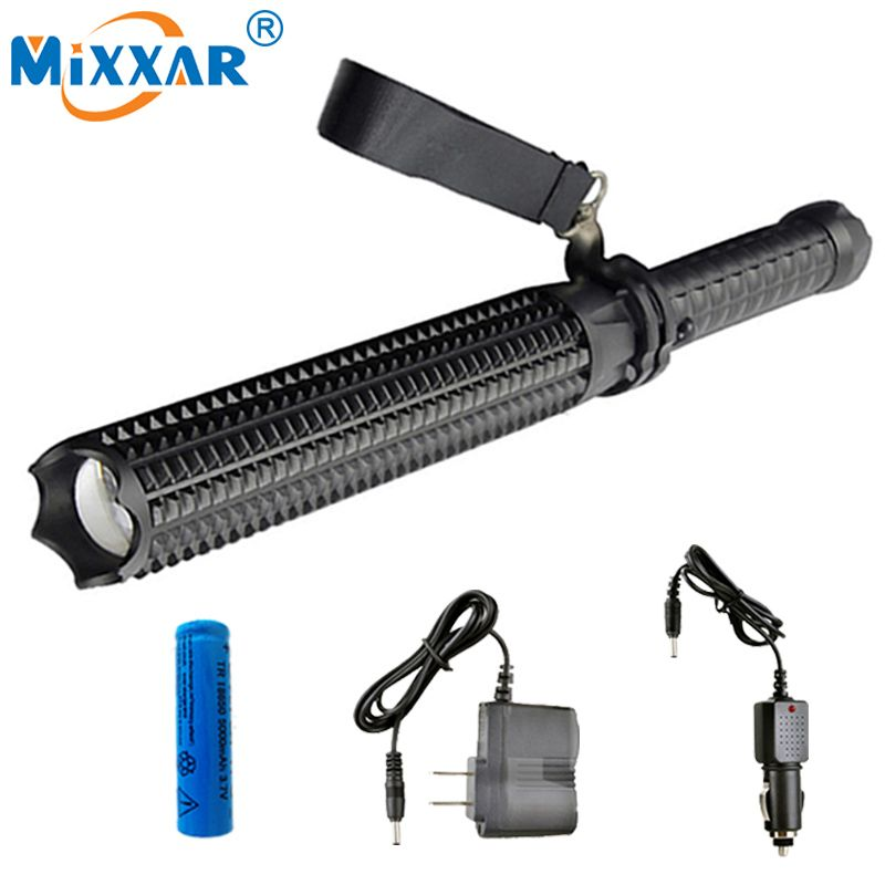 NZK30 Powerful 4500LM Led Flashlights 18650 CREE XM L2 Telescopic baton Self defense Police Patrol LED Rechargeable Torch Lamp