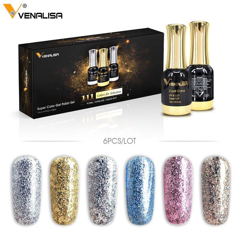 6 stücke Neue Venalisa Nail art 12 ml Nail art abendessen diamant glänzende glitter pailletten sternen platin serie nagellack farbe gel kits