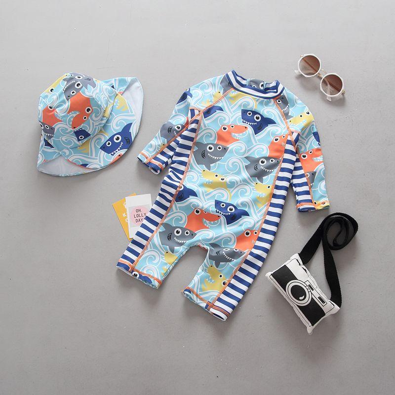 Kinder Bademode Baby Kleinkind Jungen Ein Stück Badeanzug Badeanzug Shark Lachs Langarm Schwimmen Anzug UV Sonnenschutz