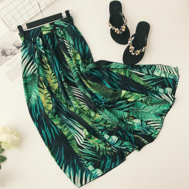 Young17 Women Skirt Green Summer Beachwear Floral Patchwork Fashion Vacation A Line Skirt Women Pleated Skirts