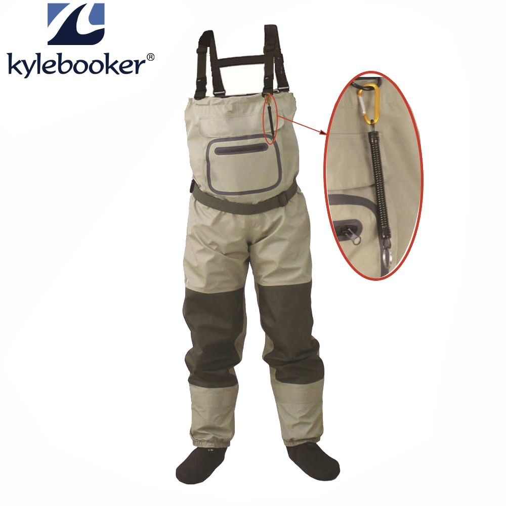 Outdoor Fly Fishing Stocking Foot ,<font><b>waterproof</b></font> and breathable chest waders with one buckle accidently rope kits