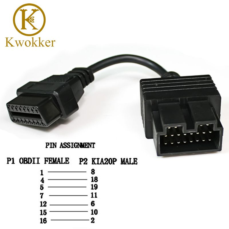KWOKKER OBD 2 câble pour KIA 20 broches à 16 broches OBD2 OBD outil de Diagnostic Scanner lecteur de Code adaptateur câble de connecteur de voiture KIA 20Pin