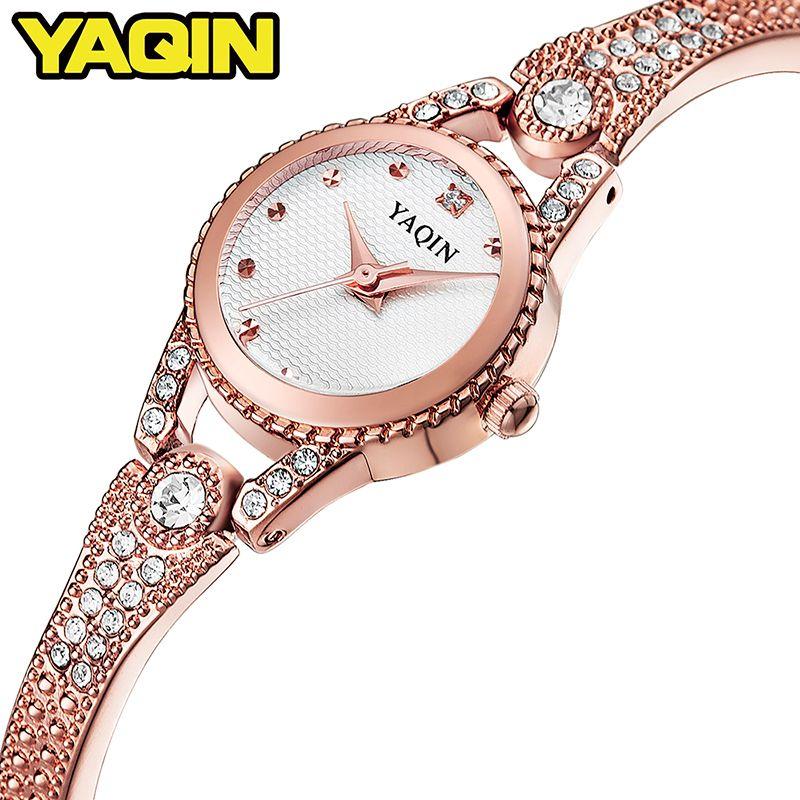 YAQIN fashion women watch with diamond gold watch ladies top luxury brand ladies jewelry bracelet watch relogio feminino