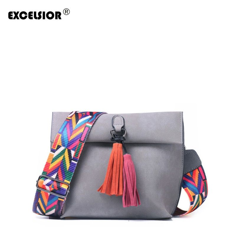 EXCELSIOR Hot Selling Women's Bags Quality Scrub PU Crossbody Bag Stylish Women's Bag Tassel Shoulder Bags with Colorful Strap