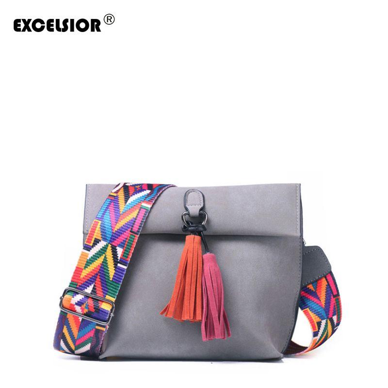 EXCELSIOR Women's Bag Scrub PU Crossbody Bags Luxury Handbags Women Bags Designer bolso mujer Colorful Strap sac a main femme