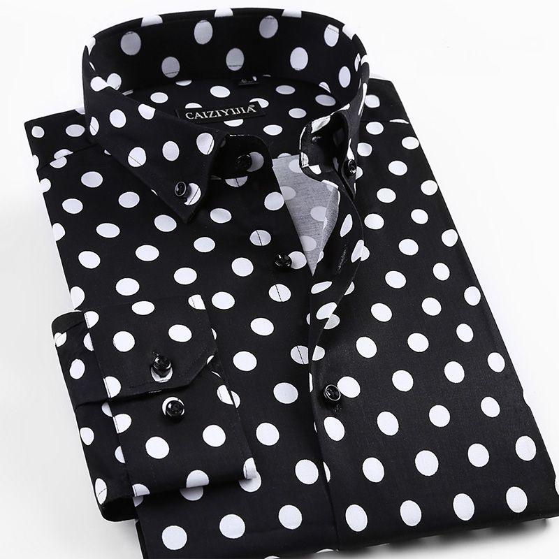 2018 новые весенние Для мужчин горошек печати рубашка с длинными рукавами модные мужские Сорочки выходные для мужчин Повседневное Формальны...