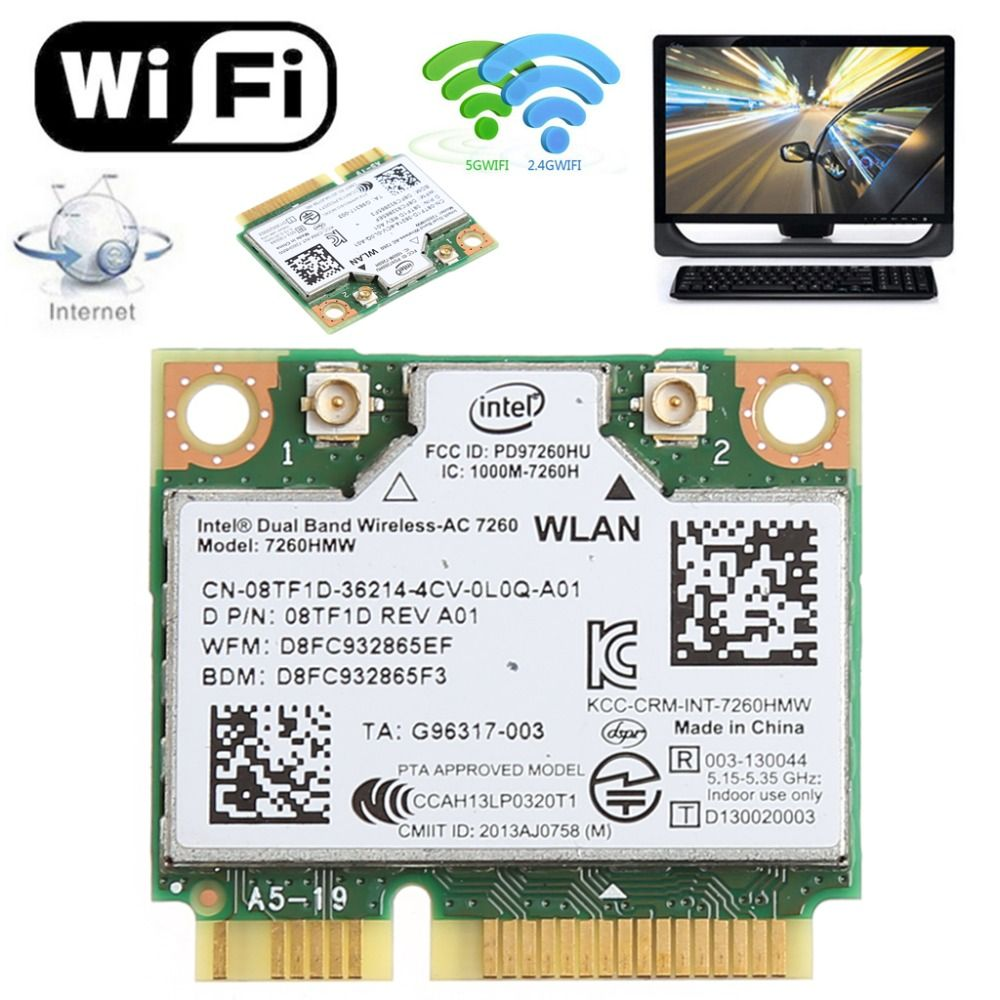 876 M Double Bande 2.4 + 5G Bluetooth V4.0 Wifi Sans Fil Mini PCI-expresscard Pour Intel 7260 AC DELL 7260HMW CN-08TF1D