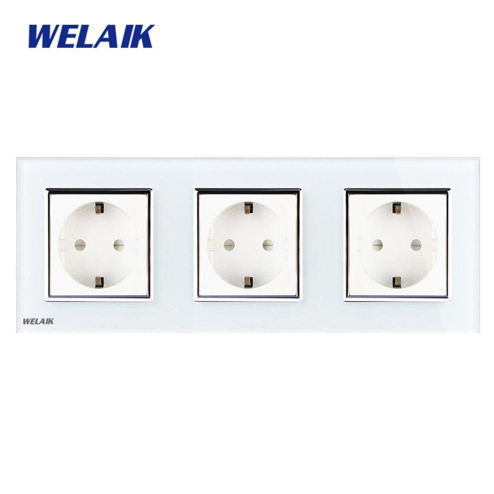 WELAIK Glass Panel Wall Socket Wall Outlet White Black European Standard Power Socket AC110~250V A38E8E8EW/B