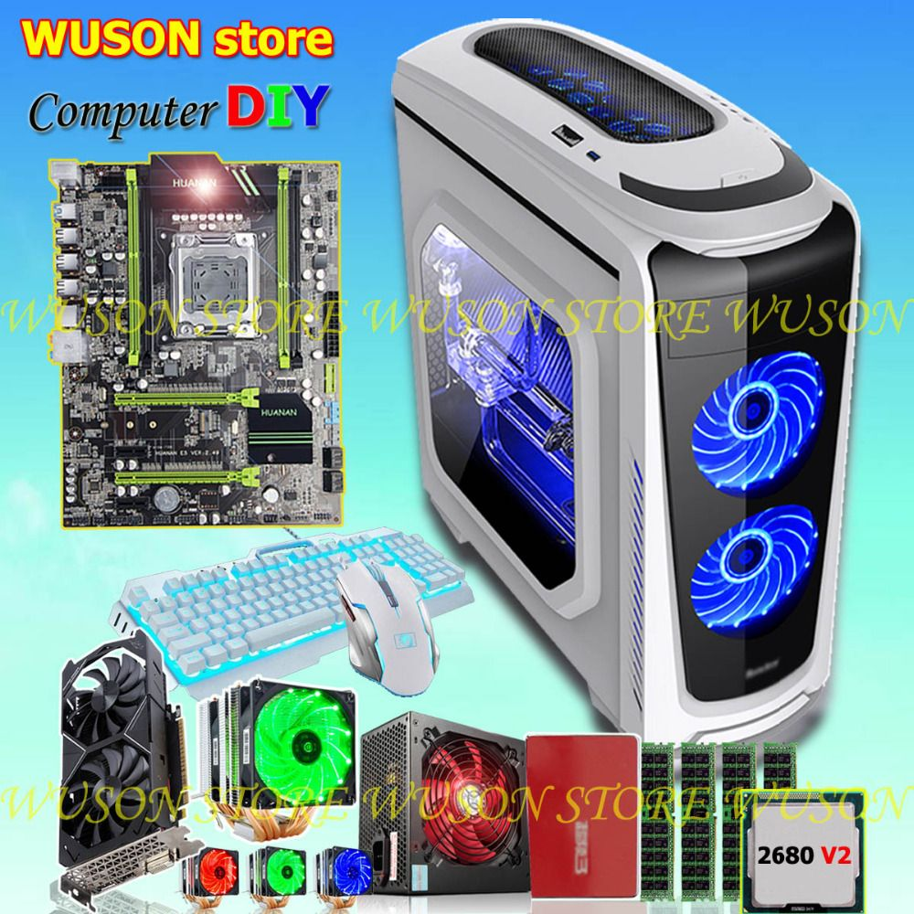 HUANAN X79 motherboard DIY set CPU Xeon E5 2680 V2 RAM 32G(4*8G) DDR3 RECC 500Watt PSU video card GTX1050Ti 240G SATA3.0 SSD