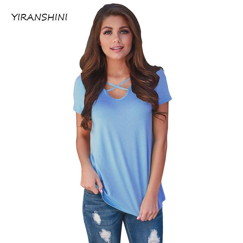 YIRANSHINI 2018 Fashion Sky Blue Sexy Lady Tees Short Sleeve V-Round Neck Floral Printed Casual Womens T-shirt LC250067