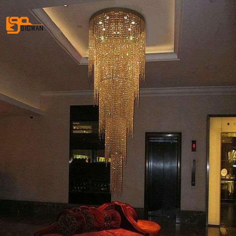 Neue design lange moderne kristall kronleuchter LED licht 5 schichten luxus hotel lobby kronleuchter