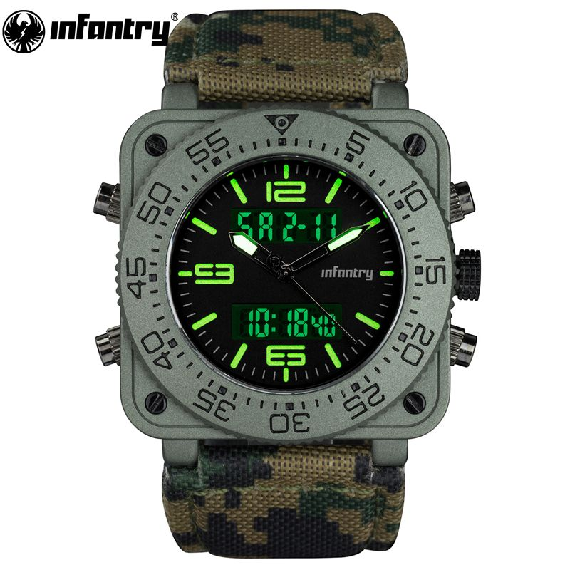 INFANTRY Mens Quartz-watches Military Army Digital Sport Watches Camouflage Leather Square Watches Dual Core Relogios Masculinos
