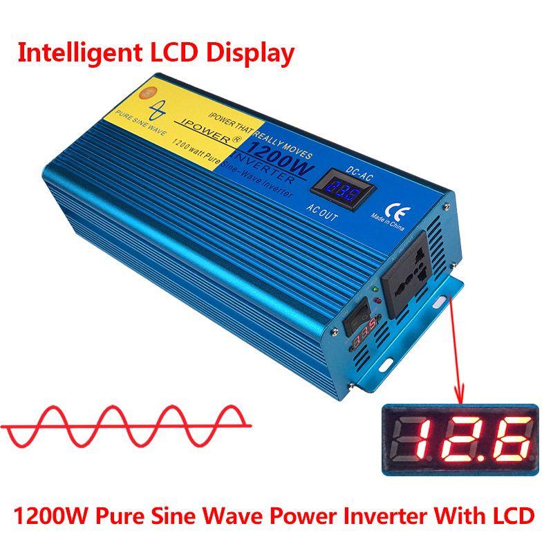 Digital LED Display 1200W/2400W 12V DC to 220V- 240V AC Converter Power Supply Pure Sine Wave Power Inverter