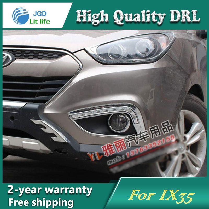 Free shipping ! 12V 6000k LED DRL Daytime running light case for Hyundai IX35 2009-2013 fog lamp frame Fog light Car styling