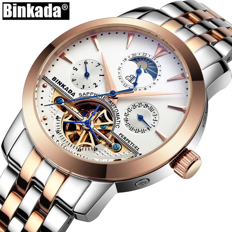 Top Luxury Brand Sport Tourbillon Mechanical Watches Casual Self Wind Full Steel BINKADA Skeleton Business Mens Automatic Watch