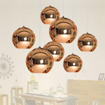 Moderno LED cromado oro cobre vidrio globo bola redonda luces colgantes iluminación colgante para comedor lámpara colgante
