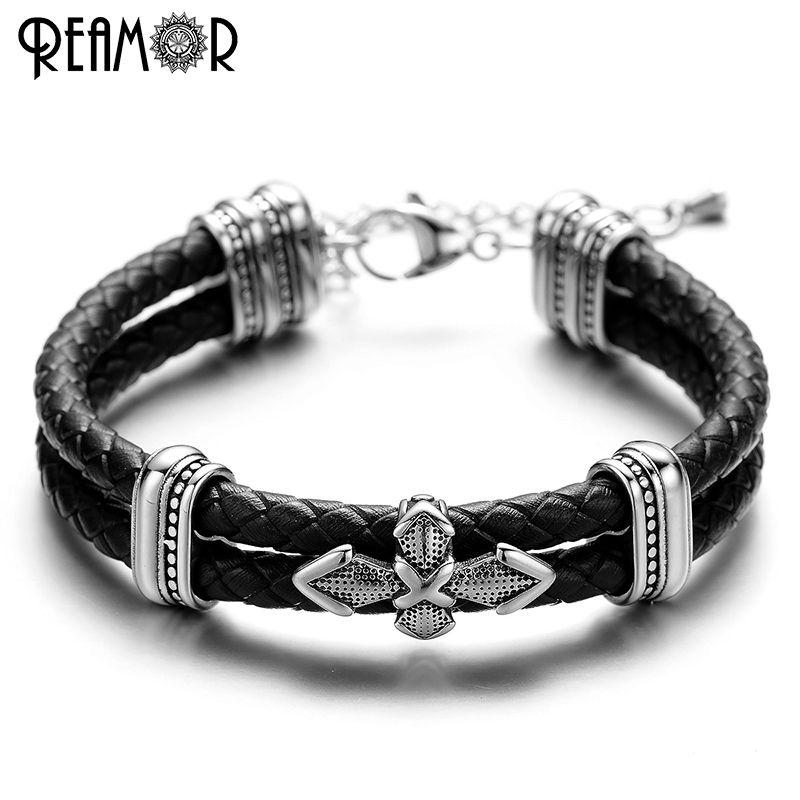 REAMOR 3 Modle Style croix charme Bracelets à la mode en acier inoxydable 316L chaîne réglable Double tressé en cuir corde Bracelets hommes