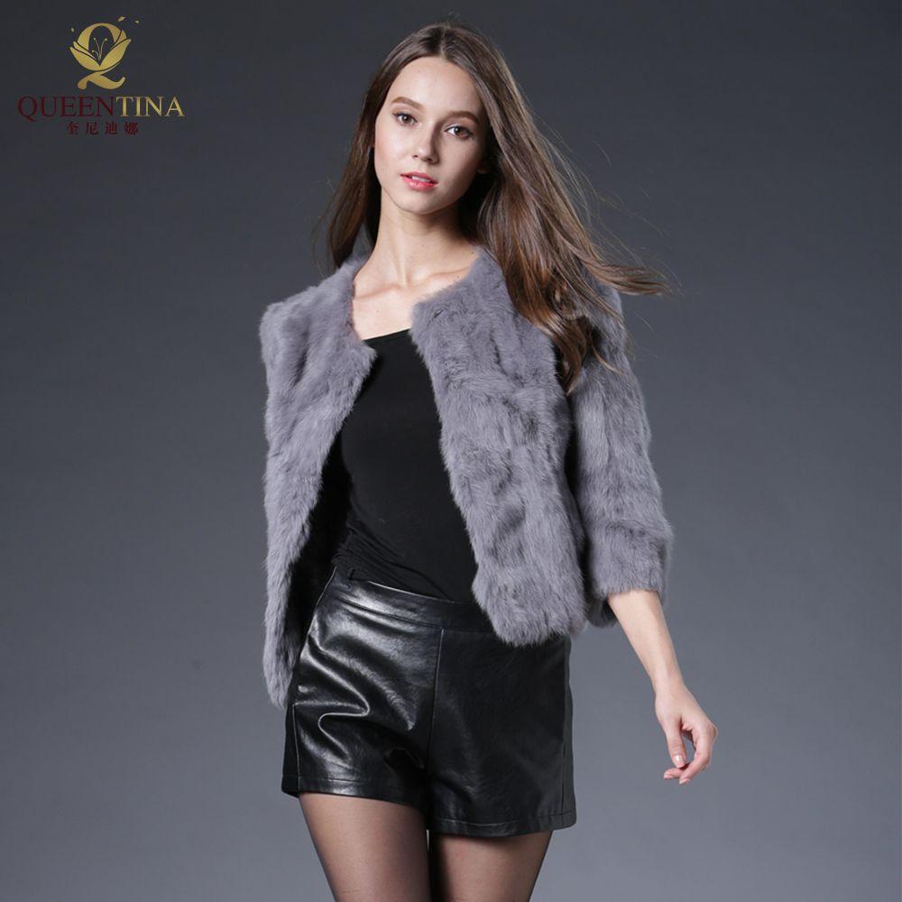 Hot Women Real Rabbit Fur Coat Natural Rex Rabbit Fur Coat O-Neck Fashion Slim Thin Rabbit Fur Coat Full Pelt Genuine Fur Jacket