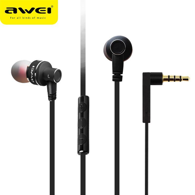 AWEI ES-10TY écouteurs intra-auriculaires stéréo casque filaire écouteurs en métal Super basse HIFI écouteurs écouteurs avec micro pour Samsung Oneplus