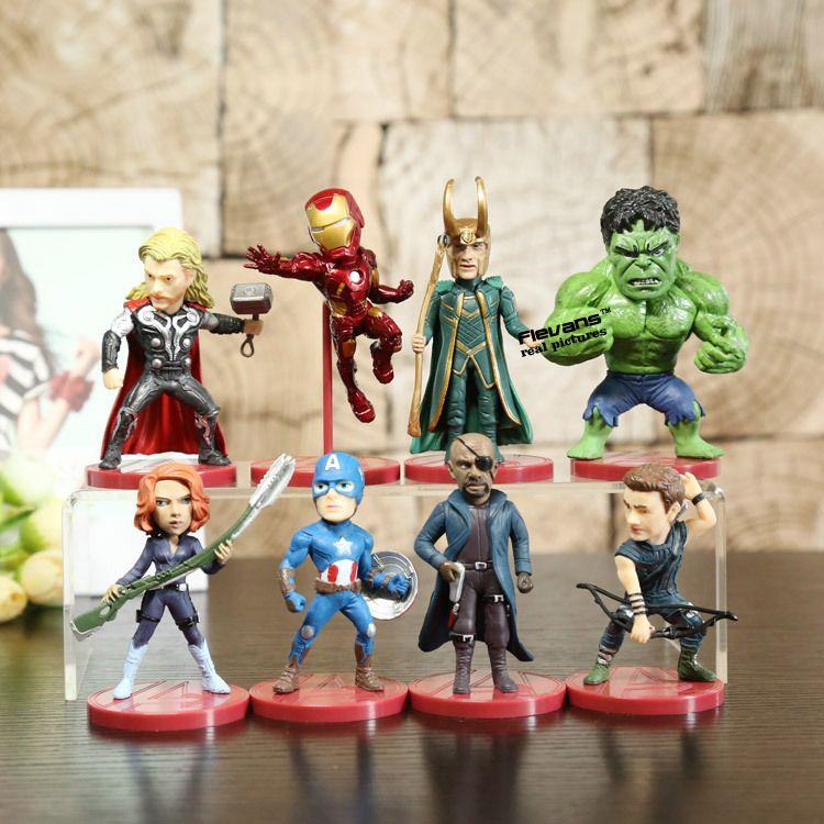 8pcs/set WCF Avengers 2 Age of Ultron PVC Figure Toys Thor Hulk Iron Man Captain America Black Widow Hawkeye Loki HRFG386