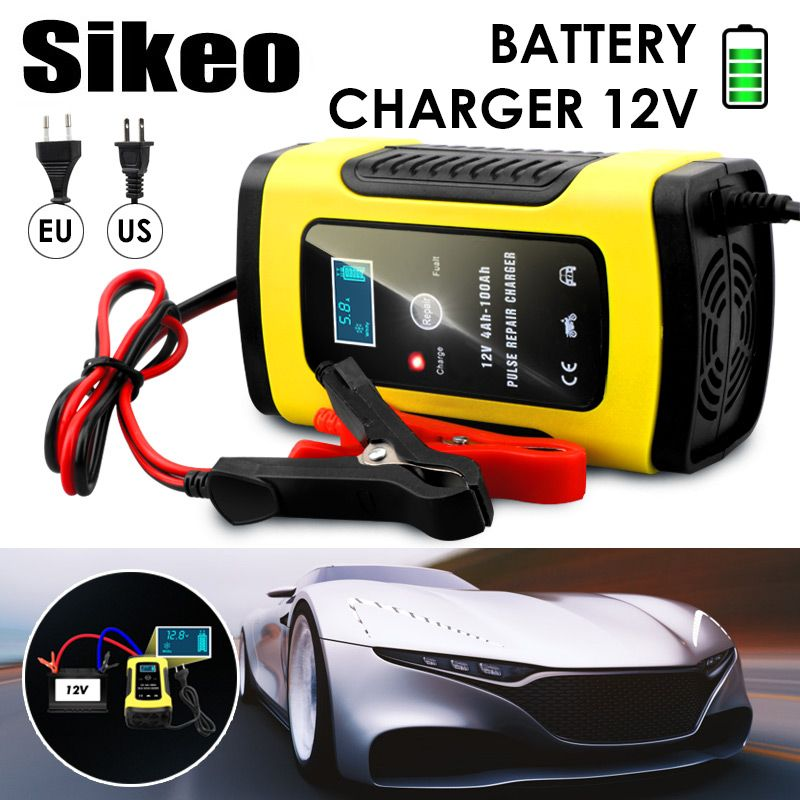 Chargeur de batterie de voiture entièrement automatique 110V à 220V à 12V 6A LCD intelligent rapide pour la charge automatique des Batteries au plomb de moto