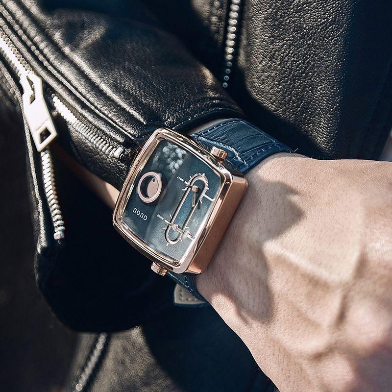 Guou montre pour hommes Double mouvement à Quartz carré montres-bracelets mode cuir de vachette Commander marque de luxe présente pour les hommes chauds