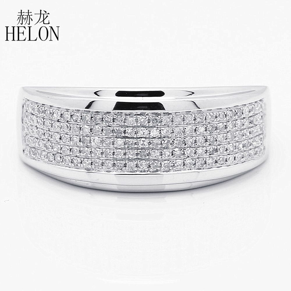 HELON Men's Band 925 Sterling Silver 0.5ct Natural Diamond Engagement Wedding Ring Stylish Party Glamorous Fine Jewelry Man Ring
