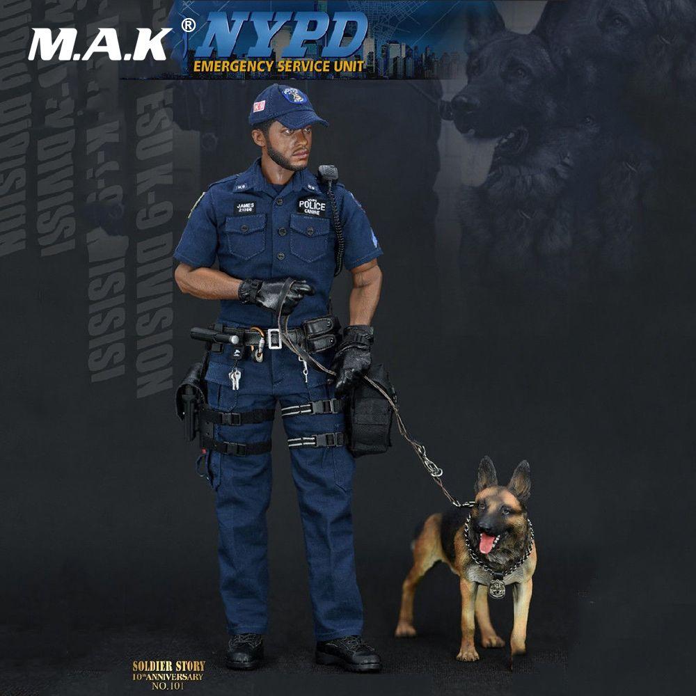 Sammlung 1/6 Vollen Satz Männlichen Soldat Notfall Service Einheit SS101 NYPD ESU K-9 Division Polizei K9 Einheit Action Figur Mit hund