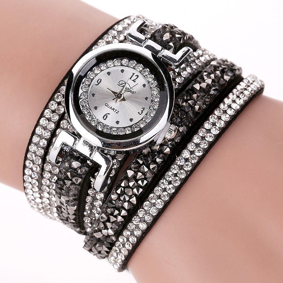 Duoya Brand Fashion Dress Watches Women Casual Silver Crystal Leather Quartz Wristwatch Ladies Classic Bracelet Vintage Watch