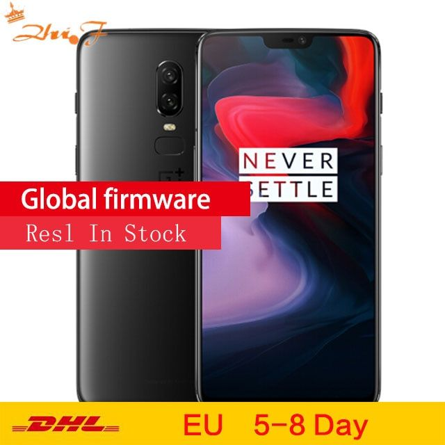 Original OnePlus 6 8GB 128GB Snapdragon 845 Octa Core 20MP+16MP AI Dual Camera Face Unlock Android 8 OxygenOS Smartphone NFC