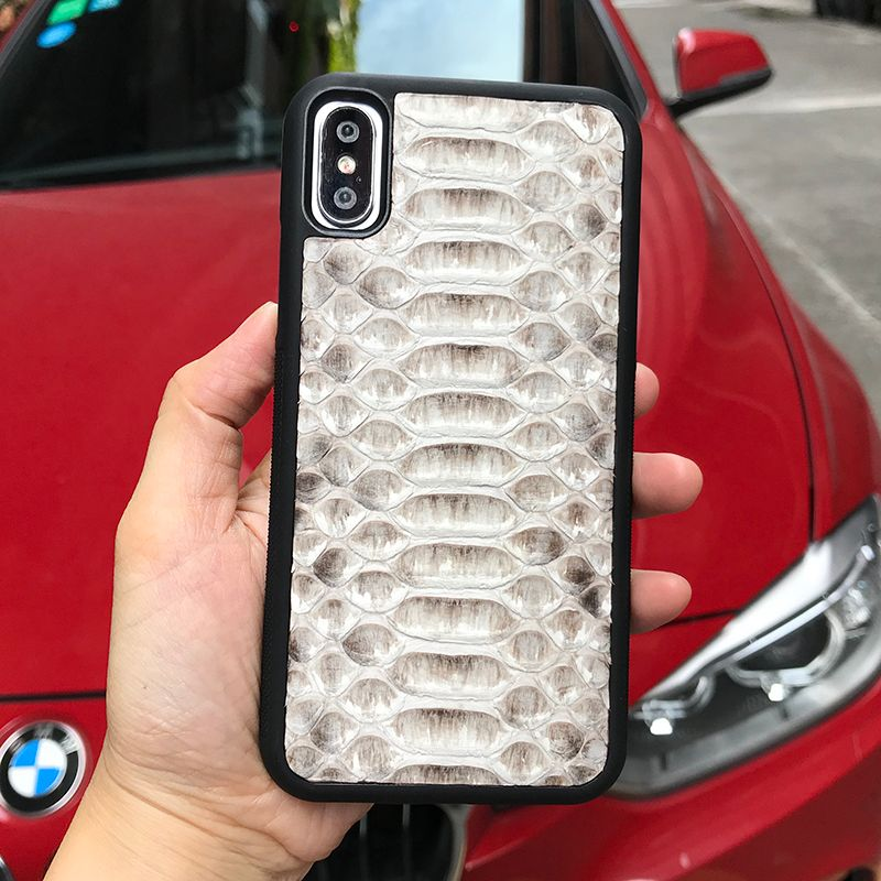 Horolgii Real Python leather Case For iPhone x 7 6 Plus Natural Color Python Design custom name Back Cover Mobile Phone Cases