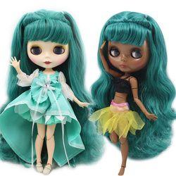Telanjang Blyth Doll untuk Seri No.280BL1206 Sendi Tubuh Berdebu Rambut Hijau Cocok untuk Perubahan DIY BJD Pabrik Mainan Blyth