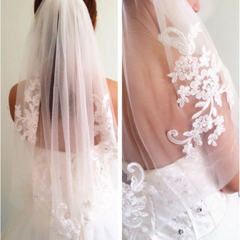 In Stock Short One Layer waist length beaded Diamond appliqued white or ivory wedding veil bridal veils