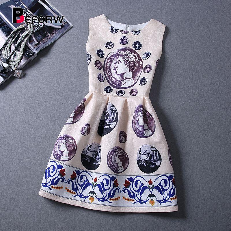 BEFORW Vintage femmes robe printemps été mode imprimé robes sans manches Sexy Mini robe Vestidos de festa femmes vêtements