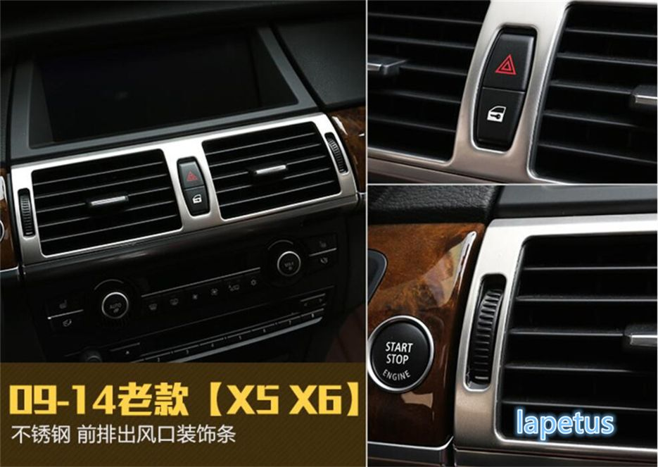 For BMW X5 E70 2009 - 2013 X6 E71 2010 - 2014 Stainless Steel High Quality Central Air Conditioning AC Outlet Vent Cover Trim