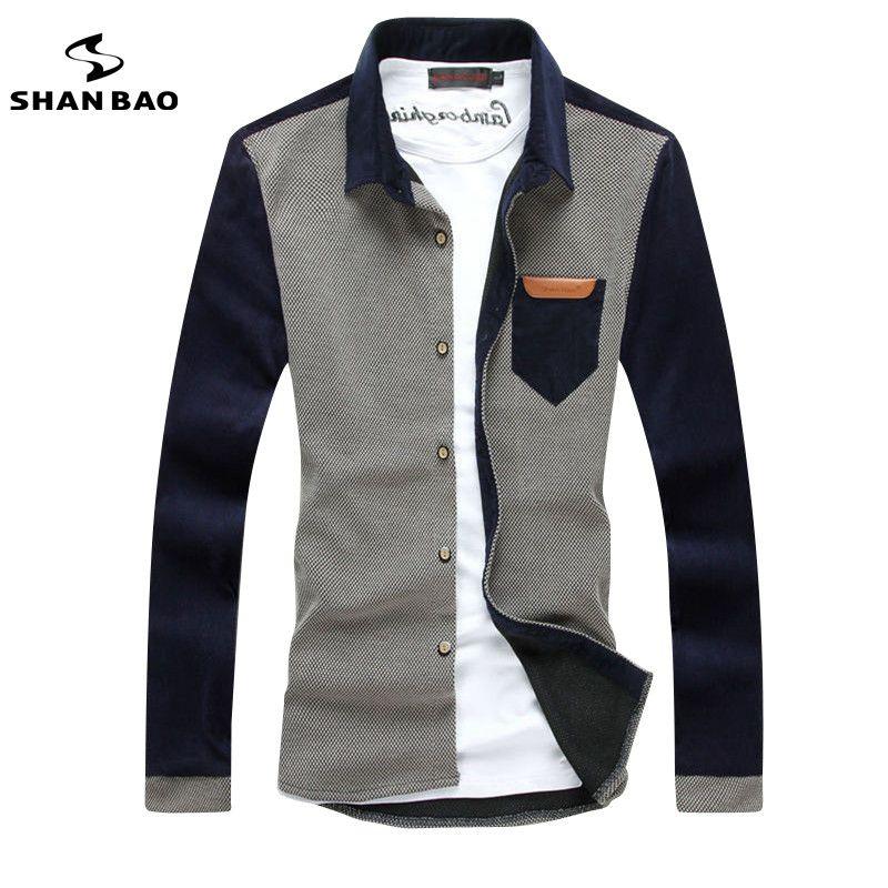 SHAN BAO moda casual de manga larga camisa de pana de los hombres de costura 2017 de otoño e invierno nuevo autocultivo la solapa de la camisa