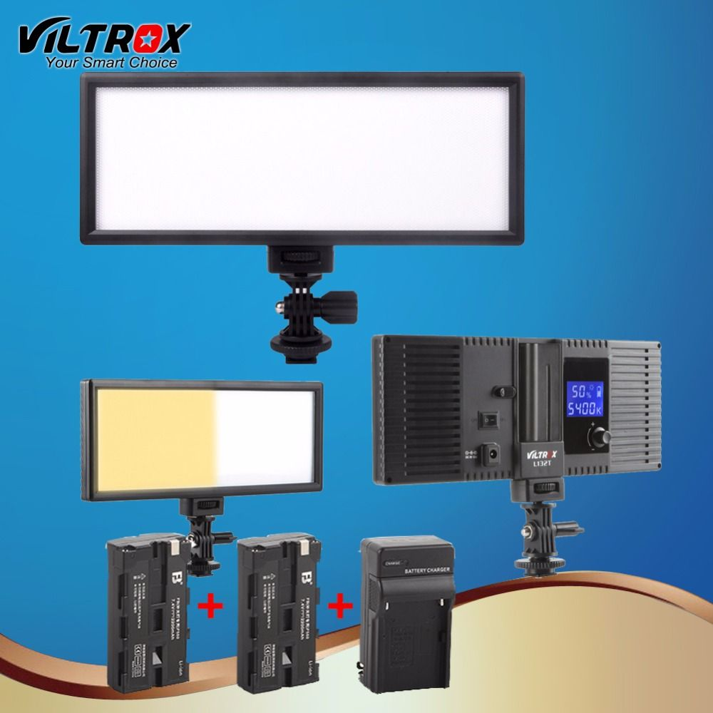 Viltrox L132t LED Studio Video Light Lamp Ultra Thin Bi-Color & <font><b>Dimmable</b></font> Adjustable Luminance for DSLR Camera+2 Battery+Charger
