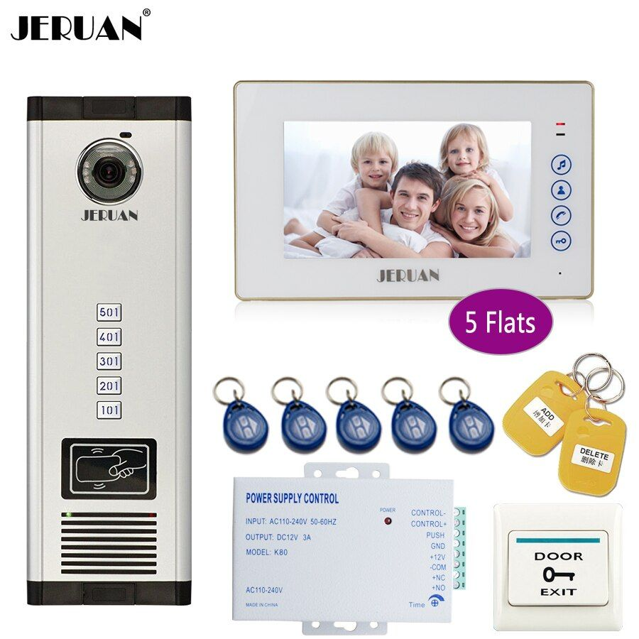 JERUAN 7`` White Monitor 700TVL Camera Video Door Phone Intercom Access Home Gate Entry Security Kit for 5 Families Apartments